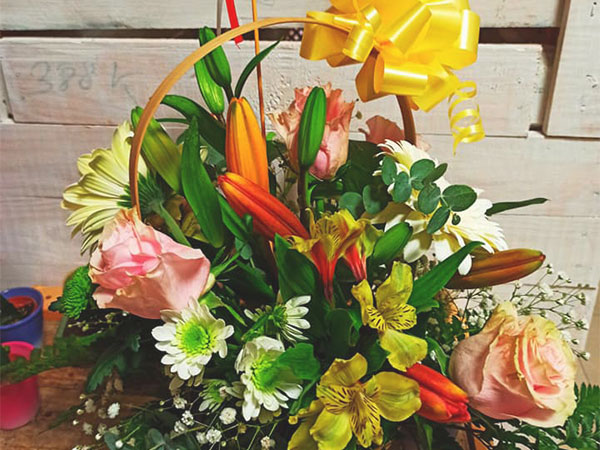 cesta colorida de flores